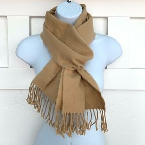 Accessories - Camel Color 100% Cashmere Fringed Scottish Scarf